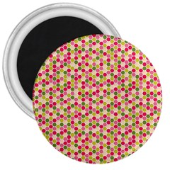 Pink Green Beehive Pattern 3  Button Magnet