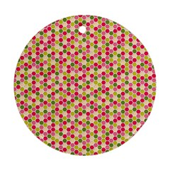 Pink Green Beehive Pattern Round Ornament