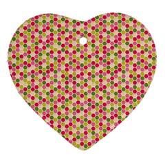 Pink Green Beehive Pattern Heart Ornament