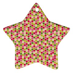 Pink Green Beehive Pattern Star Ornament