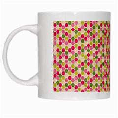 Pink Green Beehive Pattern White Coffee Mug