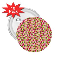 Pink Green Beehive Pattern 2.25  Button (10 pack)