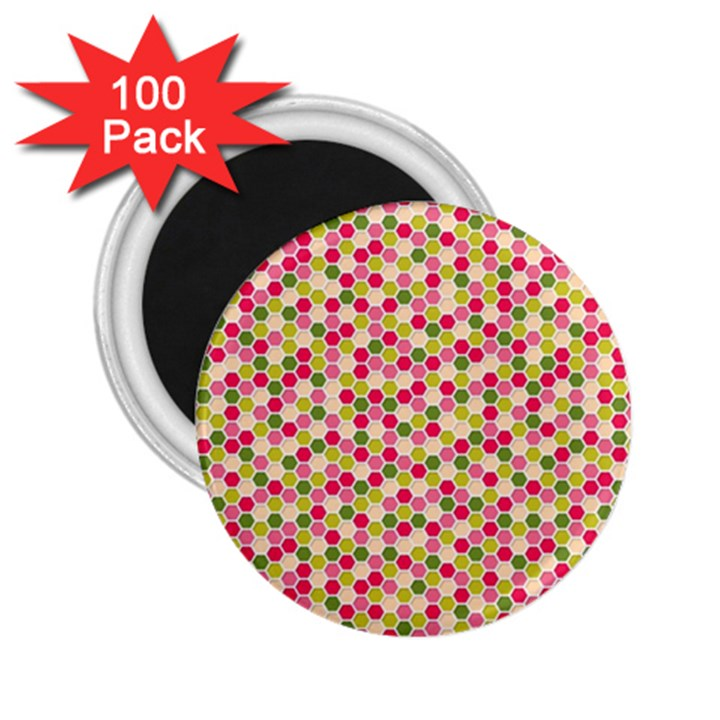 Pink Green Beehive Pattern 2.25  Button Magnet (100 pack)