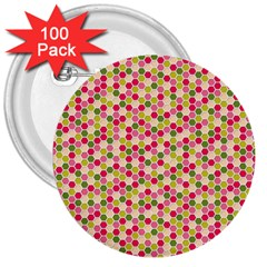 Pink Green Beehive Pattern 3  Button (100 pack)