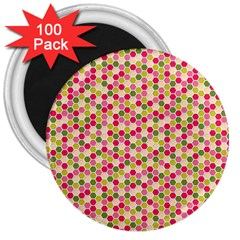 Pink Green Beehive Pattern 3  Button Magnet (100 pack)