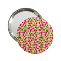 Pink Green Beehive Pattern Handbag Mirror (2.25 )