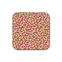 Pink Green Beehive Pattern Drink Coaster (square)