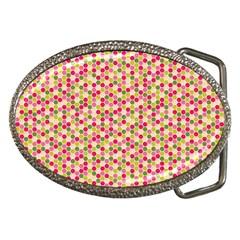 Pink Green Beehive Pattern Belt Buckle (Oval)