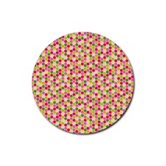 Pink Green Beehive Pattern Drink Coaster (round)