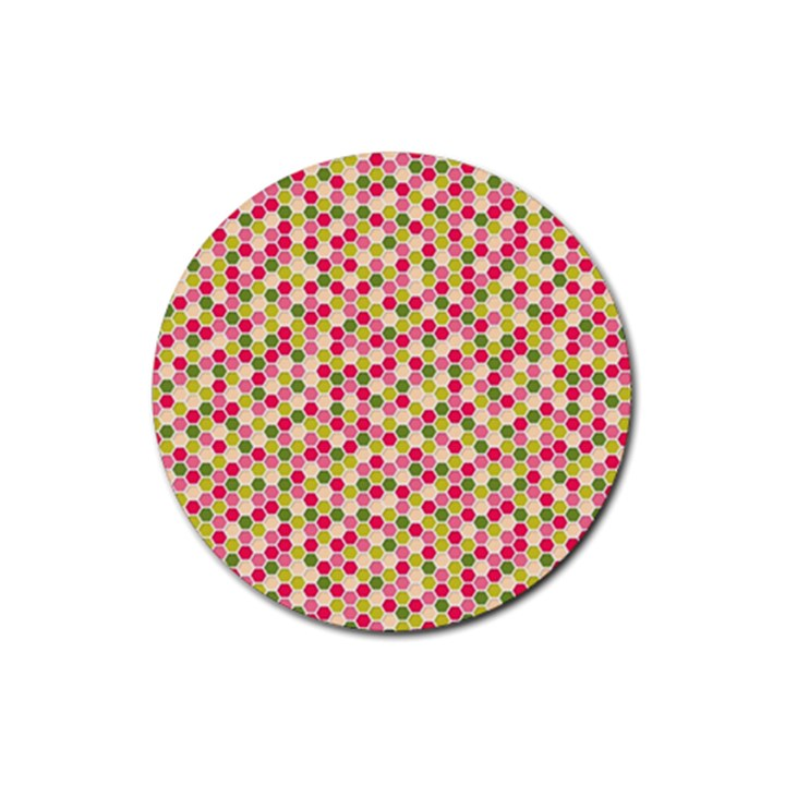 Pink Green Beehive Pattern Drink Coasters 4 Pack (Round)