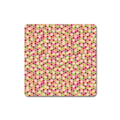 Pink Green Beehive Pattern Magnet (Square)