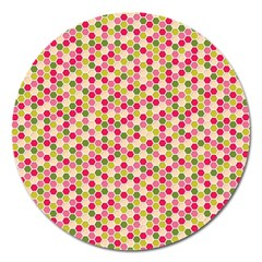 Pink Green Beehive Pattern Magnet 5  (Round)