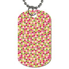 Pink Green Beehive Pattern Dog Tag (Two-sided)