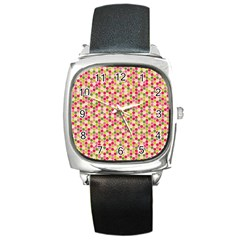 Pink Green Beehive Pattern Square Leather Watch