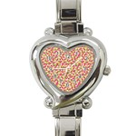 Pink Green Beehive Pattern Heart Italian Charm Watch  Front