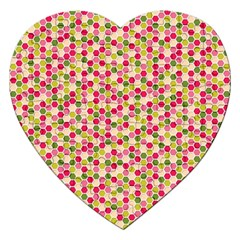 Pink Green Beehive Pattern Jigsaw Puzzle (Heart)
