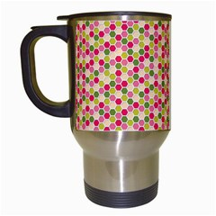 Pink Green Beehive Pattern Travel Mug (White)