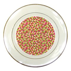 Pink Green Beehive Pattern Porcelain Display Plate