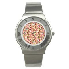 Pink Green Beehive Pattern Stainless Steel Watch (Slim)