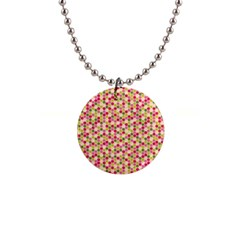 Pink Green Beehive Pattern Button Necklace