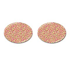 Pink Green Beehive Pattern Cufflinks (Oval)