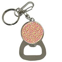 Pink Green Beehive Pattern Bottle Opener Key Chain