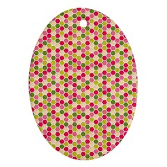 Pink Green Beehive Pattern Oval Ornament (two Sides)