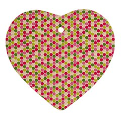 Pink Green Beehive Pattern Heart Ornament (Two Sides)