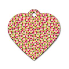 Pink Green Beehive Pattern Dog Tag Heart (One Sided)