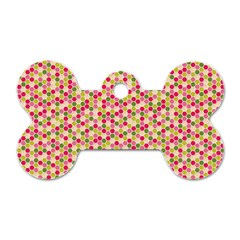 Pink Green Beehive Pattern Dog Tag Bone (Two Sided)