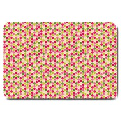 Pink Green Beehive Pattern Large Door Mat