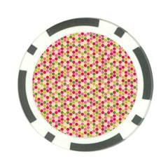 Pink Green Beehive Pattern Poker Chip