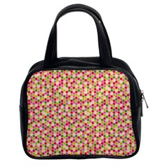 Pink Green Beehive Pattern Classic Handbag (two Sides)