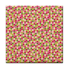 Pink Green Beehive Pattern Face Towel