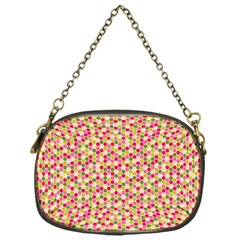 Pink Green Beehive Pattern Chain Purse (One Side)