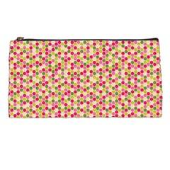 Pink Green Beehive Pattern Pencil Case