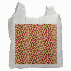 Pink Green Beehive Pattern White Reusable Bag (One Side)