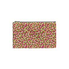 Pink Green Beehive Pattern Cosmetic Bag (small)