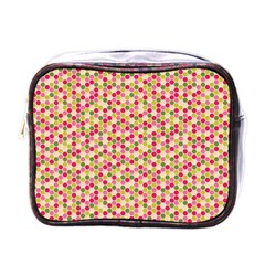 Pink Green Beehive Pattern Mini Travel Toiletry Bag (one Side)