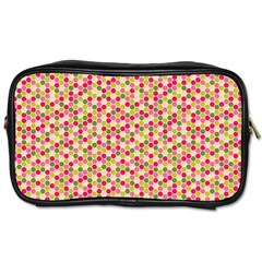 Pink Green Beehive Pattern Travel Toiletry Bag (One Side)