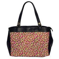 Pink Green Beehive Pattern Oversize Office Handbag (One Side)
