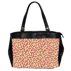 Pink Green Beehive Pattern Oversize Office Handbag (Two Sides)