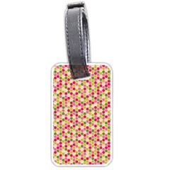 Pink Green Beehive Pattern Luggage Tag (Two Sides)