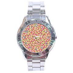 Pink Green Beehive Pattern Stainless Steel Watch