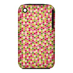 Pink Green Beehive Pattern Apple Iphone 3g/3gs Hardshell Case (pc+silicone)