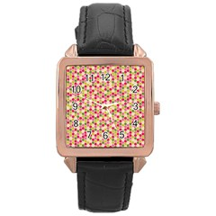 Pink Green Beehive Pattern Rose Gold Leather Watch