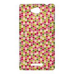 Pink Green Beehive Pattern Sony Xperia C (S39H) Hardshell Case