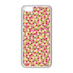 Pink Green Beehive Pattern Apple iPhone 5C Seamless Case (White)