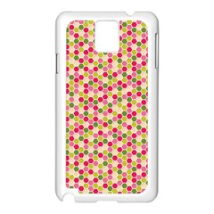 Pink Green Beehive Pattern Samsung Galaxy Note 3 N9005 Case (White)