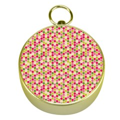 Pink Green Beehive Pattern Gold Compass